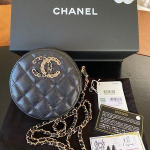 NEW 20K Chanel O Clutch w Crossbody Chain Black